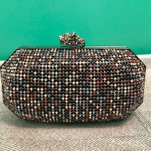 Rhinestone evening bag with cougar clasp